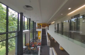 Communal area in Professor Stuart Hall Building
